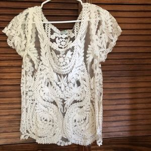 Vivid Importers Off White Lace Shirt